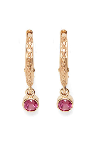 Pink Tourmaline Hoop Earrings in Pink