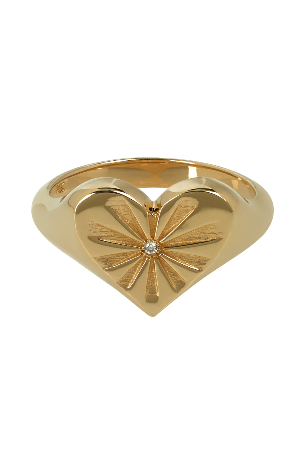 Heart Pinky Yellow Gold Ring with White Diamond