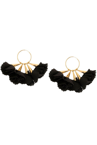 Rose Hoop Earrings in Black