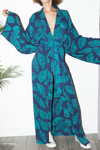 Long Kimono In Blue & Green Leaf