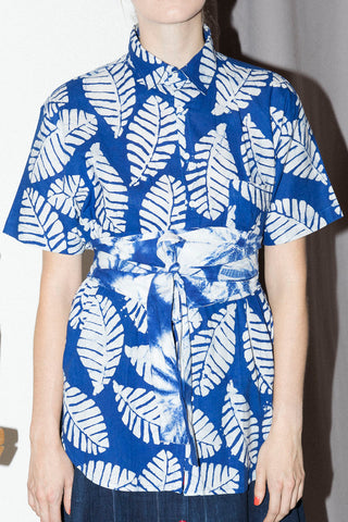 Andy Short Sleeve Shirt in Blue Leaf