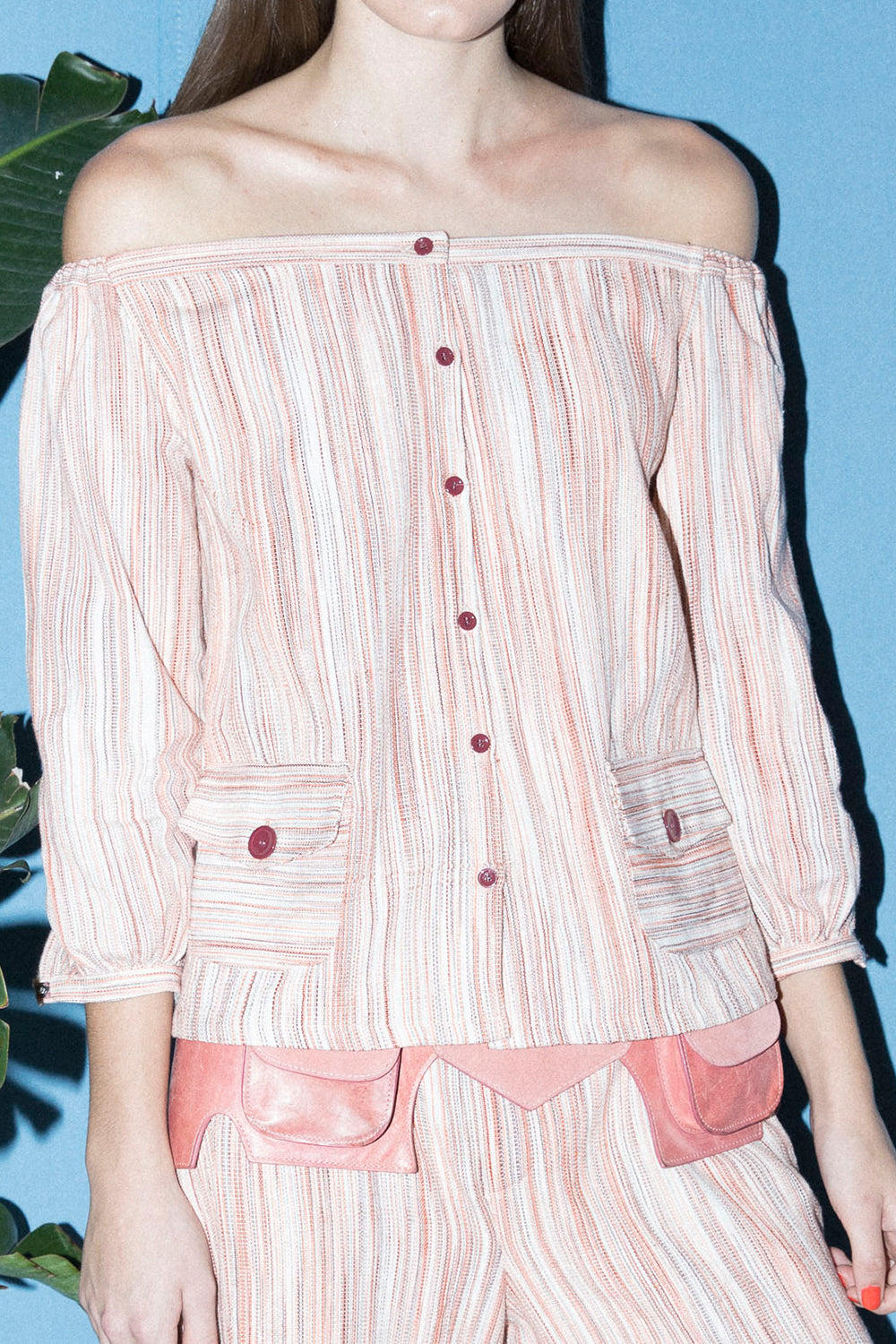 Off-The-Shoulder Top in Pink Stripe