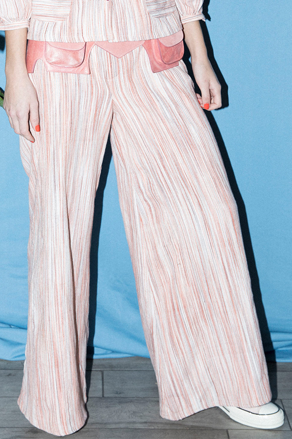 Wide Leg Pants in Pink Stripe