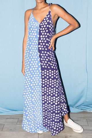 Sing Dress in Sky Blue & Navy Blue Dots
