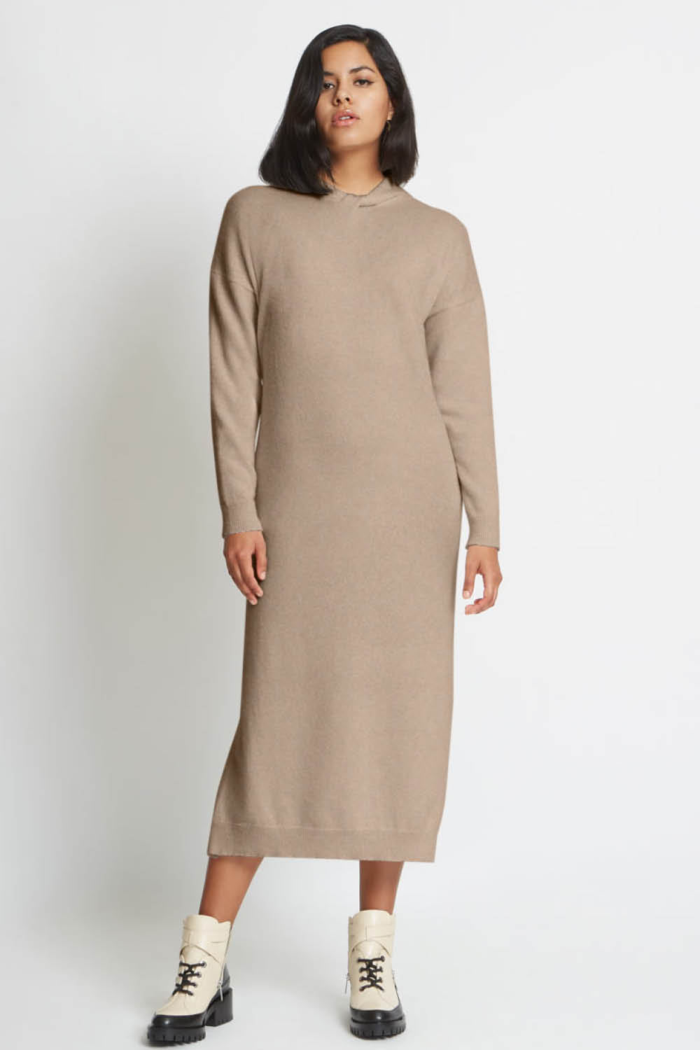 Blair Sweater Dress in Fawn