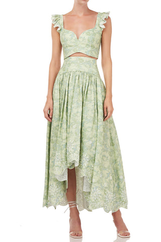 Santana Skirt in Cricket Green Block Paisley