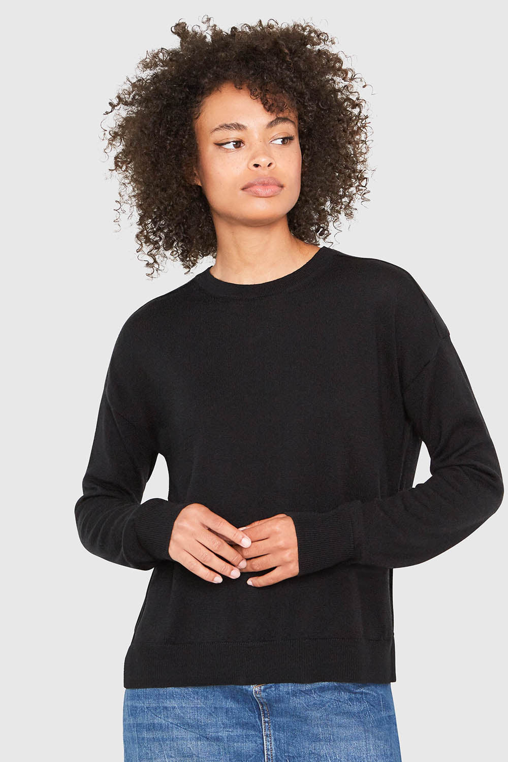 Stella Relaxed-Fit Merino Wool Sweater in Black