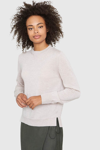 Ellen Notched Neckband Merino Wool Sweater in Marcona