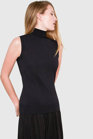 Hepburn Sleeveless Turtleneck Sweater in Black