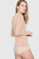 Amber Crew Neck Sweater Bodysuit in Nude thumbnail