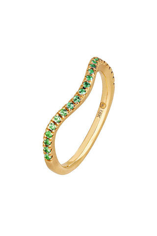 Emerald Wave Stack Ring