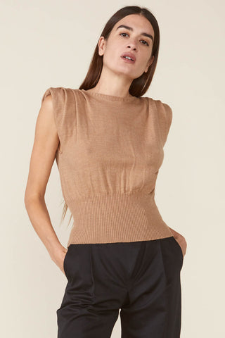 Sierra Padded Shoulder Sweater in Camel