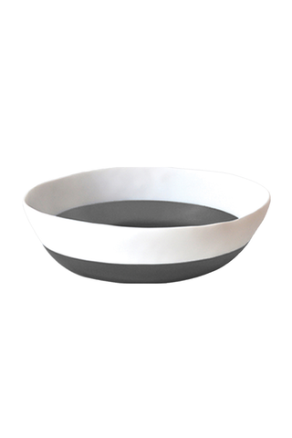 Two Color Wide Salad Bowl in White & Grey