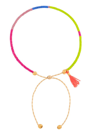 Sam Chain Bracelet in Neon Coral