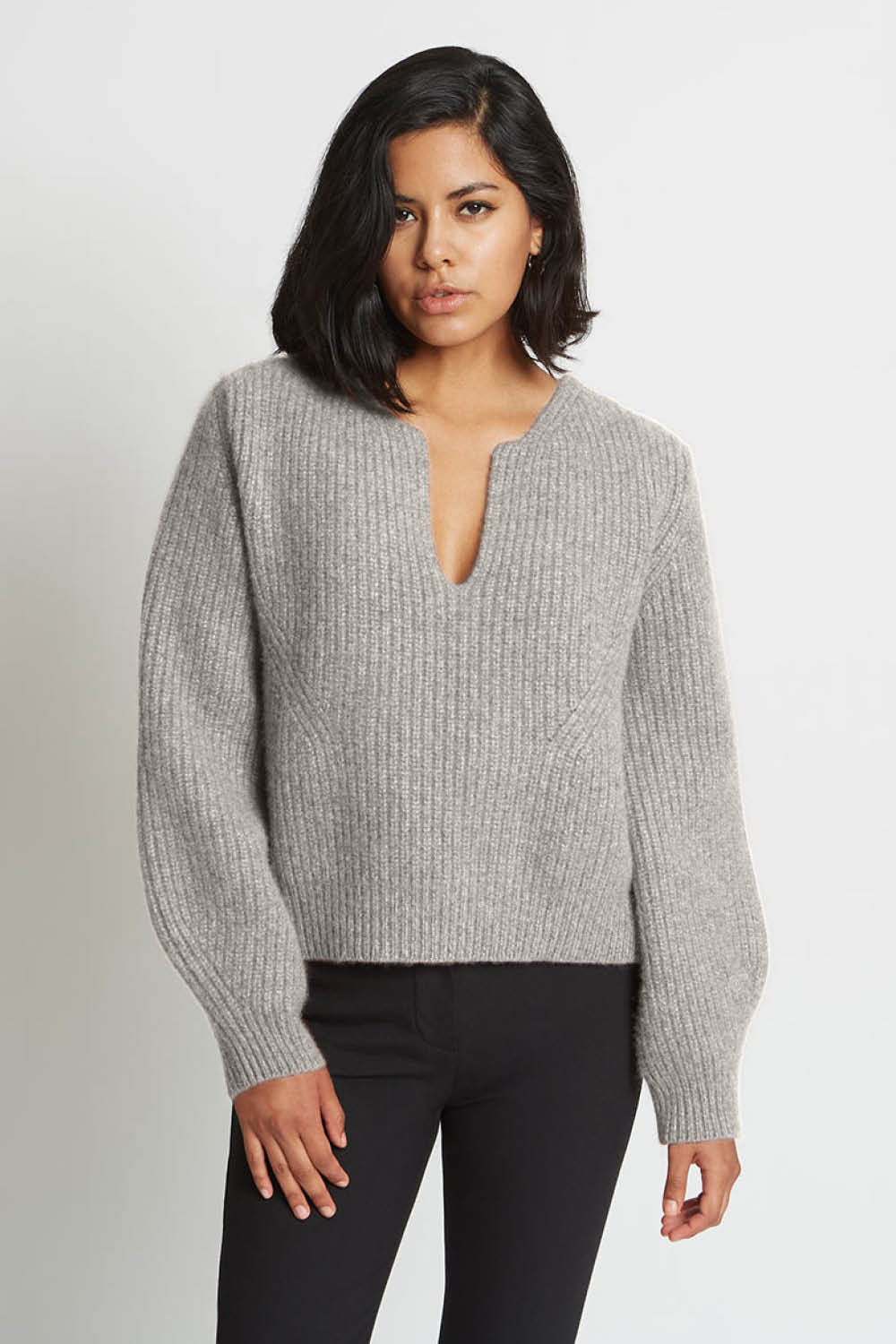 Kaya Notched Sweater in Granite