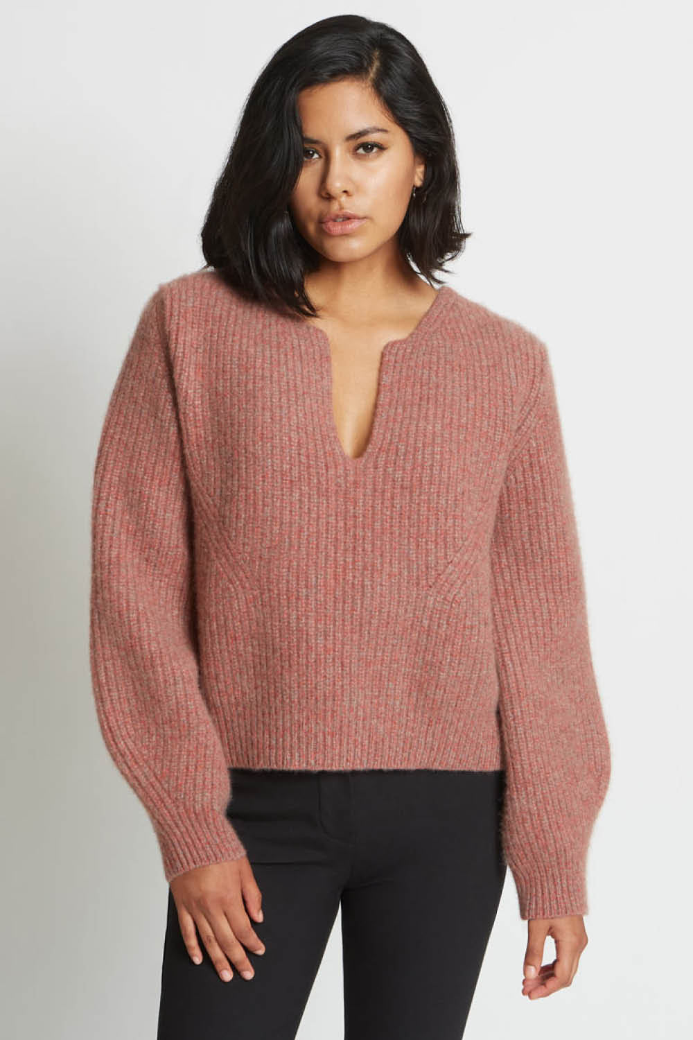 Kaya Notched Sweater in Red Agate