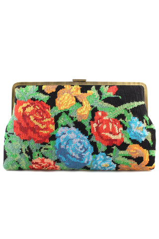 Flowers Black Canvas Clutch Me Bag