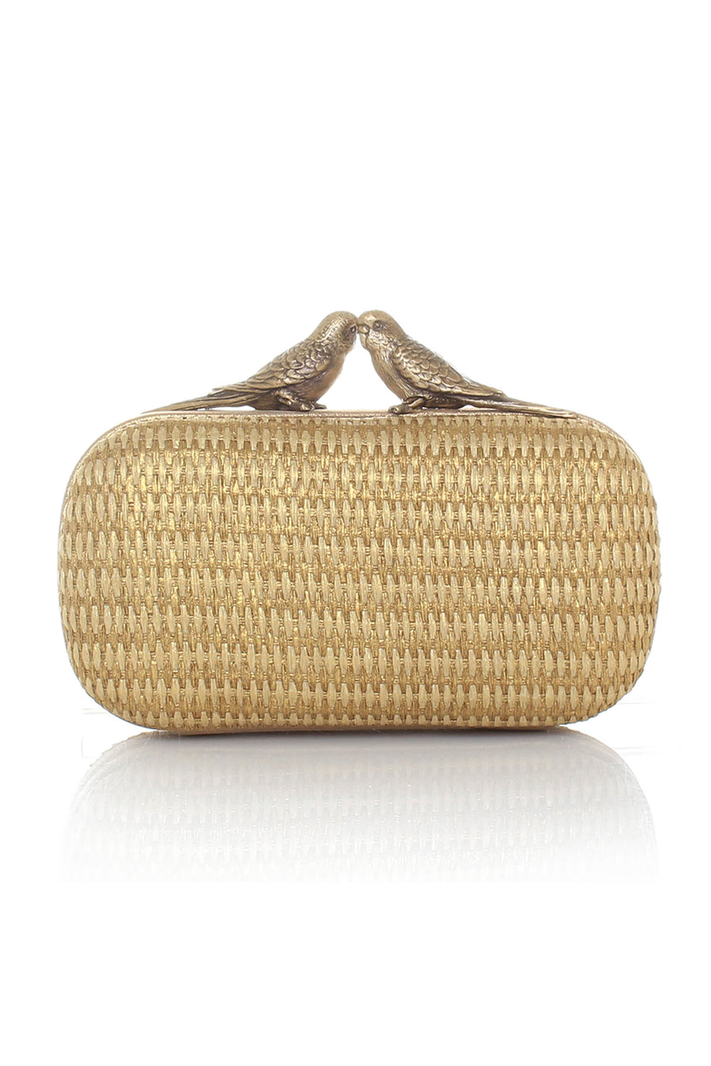 Birds Gold Straw Box Clutch Bag