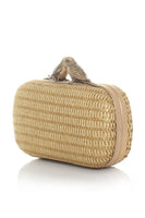 Birds Gold Straw Box Clutch Bag thumbnail