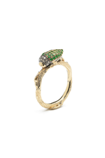 Stackable Scarab Ring with Green Tsavorites thumbnail