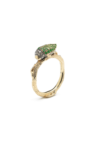 Stackable Scarab Ring with Green Tsavorites