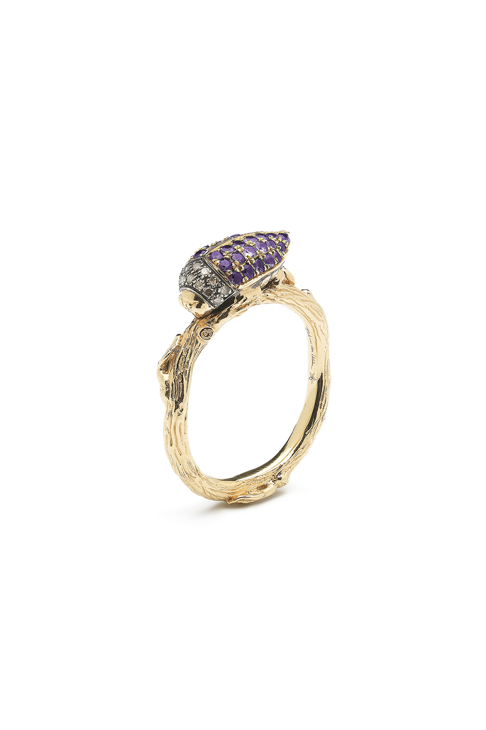 Stackable Scarab Ring with Purple Tsavorites