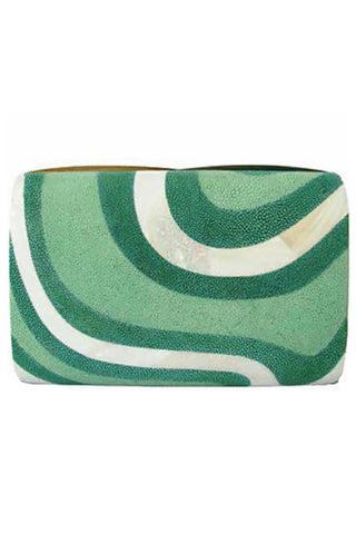 Seawave Clutch in Green Shagreen & White Mother of Pearl