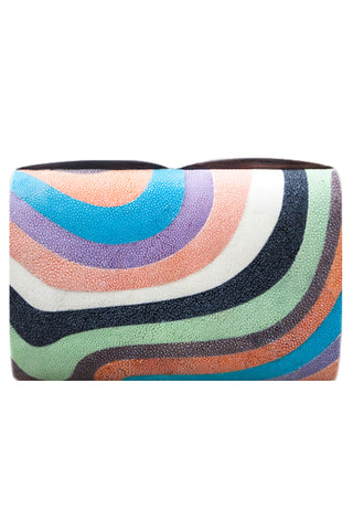 Seawave Clutch in Rainbow Shagreen