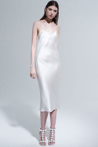 Midi Slip Dress in Ivory