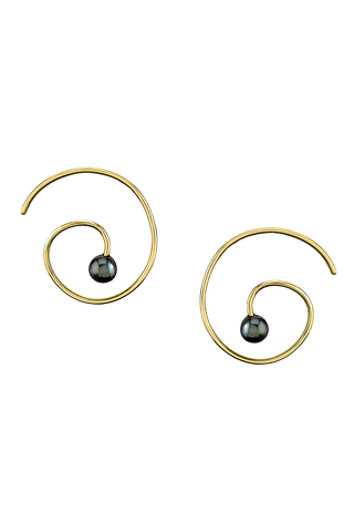Black Pearl Spiral Earrings