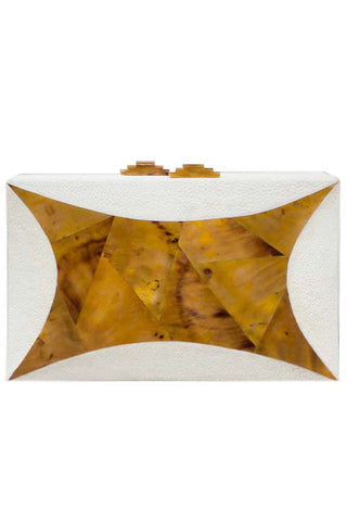 Starfish Clutch in Ivory Shagreen & Amber Shell