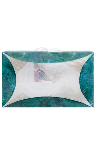 Starfish Clutch in White & Green Mother of Pearl