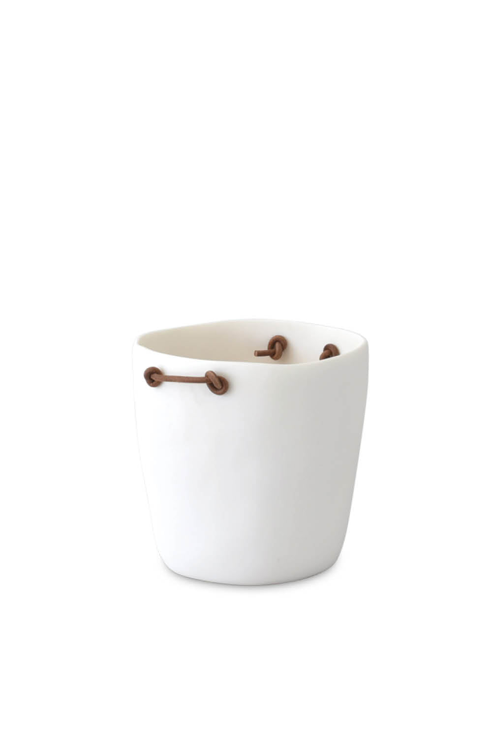 Champagne Bucket with Leather Handles - White