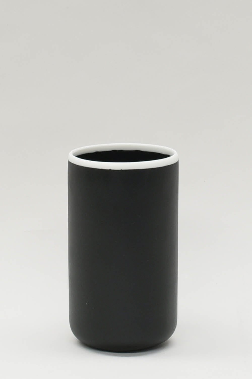 Vase in Black with White Rim