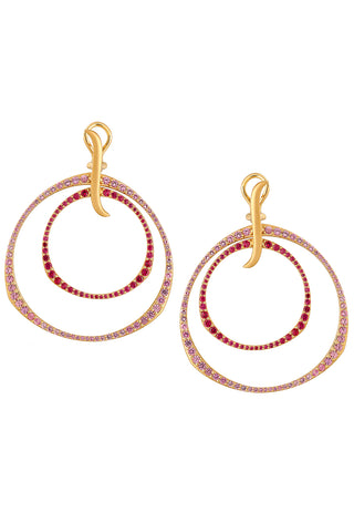 Twilight Double Hoop Earrings in Ombre Rose