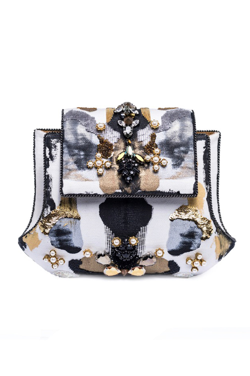 Clotho Handpainted Clutch With Crystals In Denim, White, Black & Gold