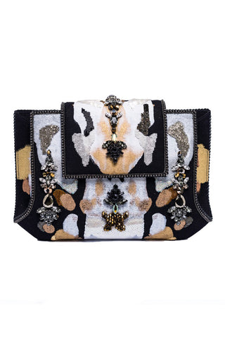 Verandi Handpainted Clutch With Crystals In Denim, White, Black & Gold