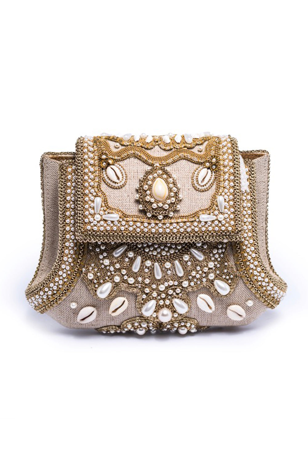 Rhama Linen Clutch With Beads Shells In Beige & Gold