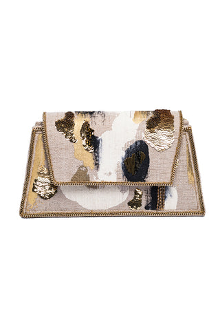 Hypnose Linen Handpainted Clutch With Beads In Beige, Gold & Black