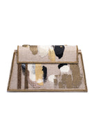 Hypnose Linen Handpainted Clutch With Beads In Beige, Gold & Black thumbnail