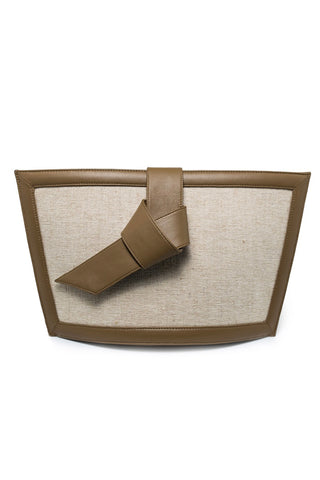 Gaia Denim & Leather Clutch In Beige & Brown