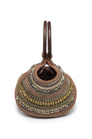 Calypso Beaded Round Handbag In Brown, Beige & Gold thumbnail