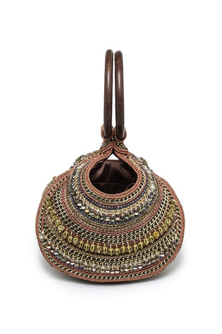 Calypso Beaded Round Handbag In Brown, Beige & Gold