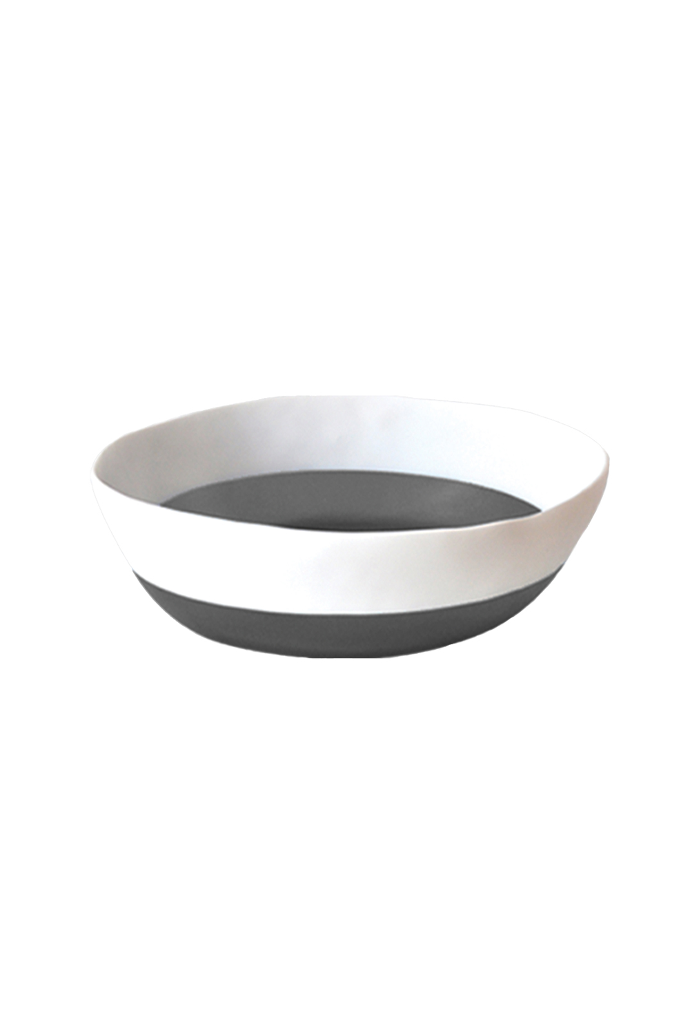 Two Color Vegetable Bowl in White & Grey