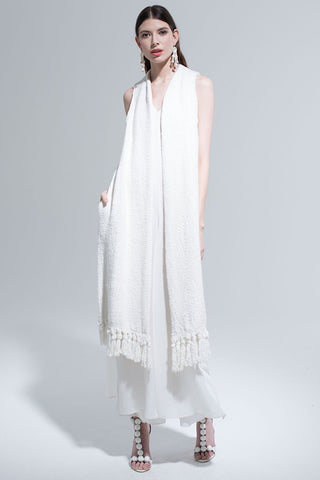 Long Fringe Vest in Ivory