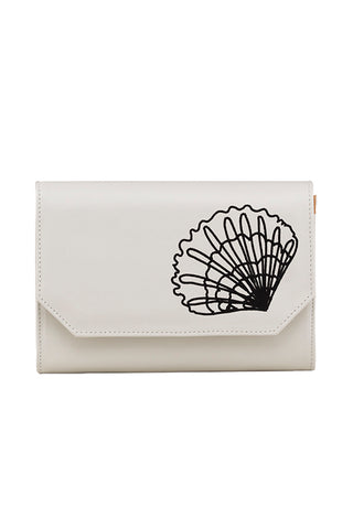 Xalma Tagua Bag in White With Shell Embroidery