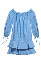 Amelia Off-The-Shoulder Ruffle Dress in Blue & White French Stripe thumbnail