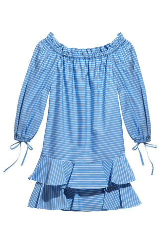 Amelia Off-The-Shoulder Ruffle Dress in Blu & White Parasol Stripe