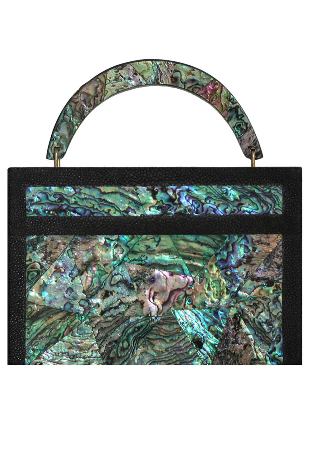 Arista Clutch in Paua Shell & Shagreen Trim