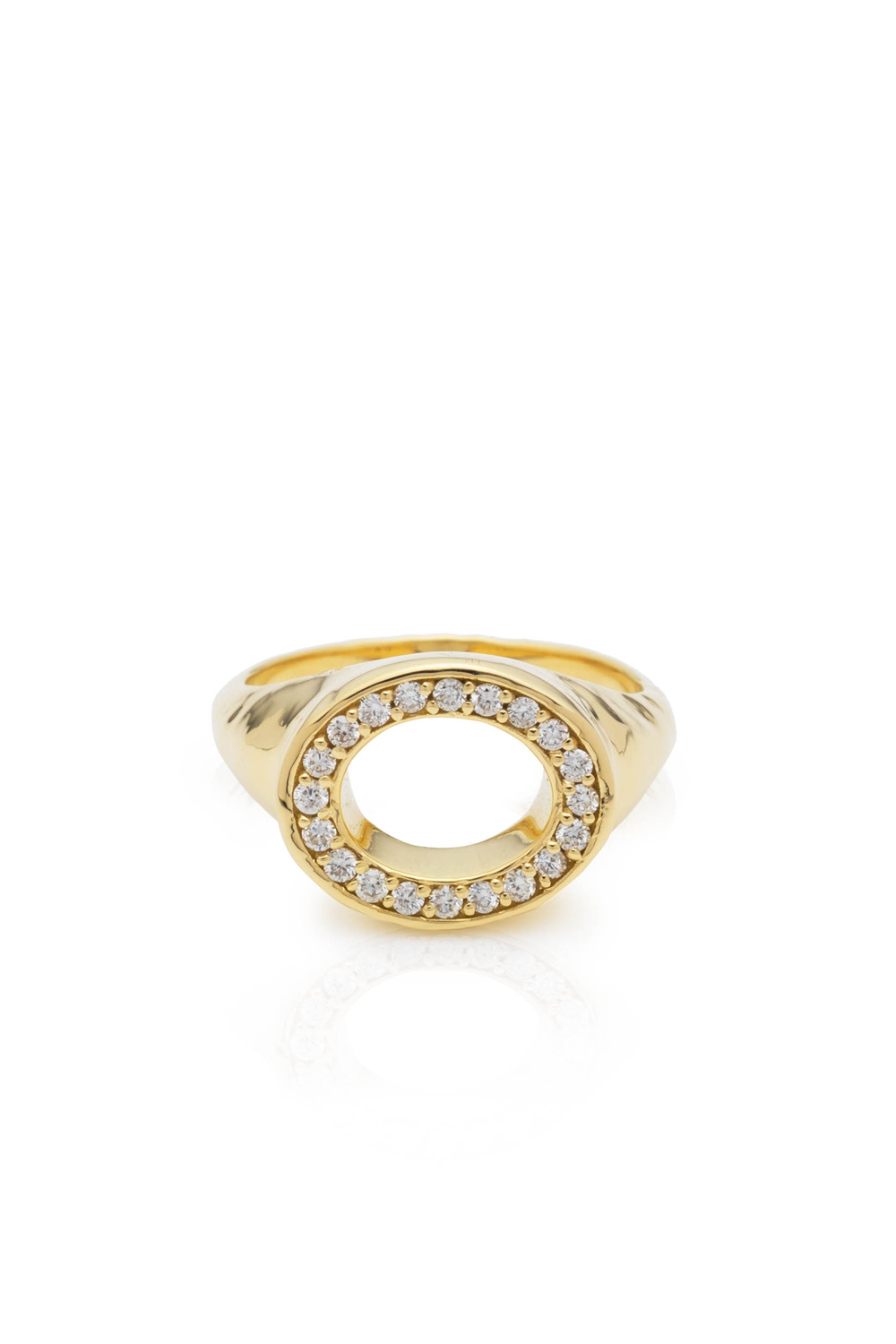 Gold & Diamond Perimeter Hollow Signet Ring